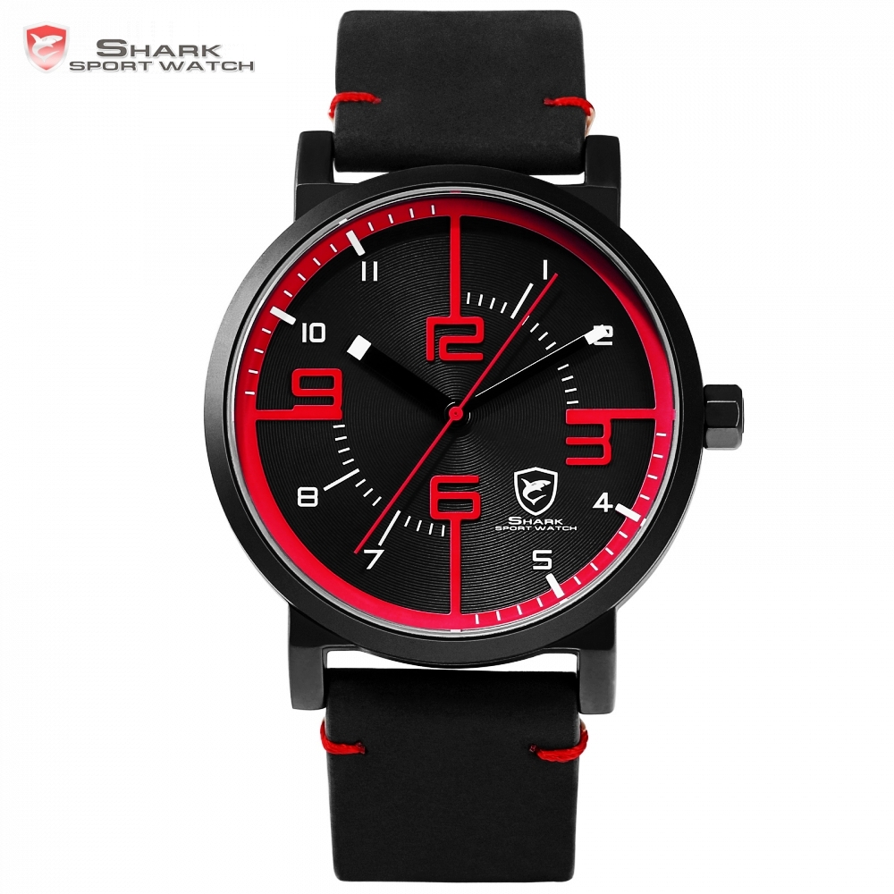 Bahamas Saw SHARK Sport Watch Black Red Men Quartz Simple Analog 3D Face Clock Crazy Horse Leather Designer Watches /SH567 greenland shark 2 series sport watch new design red date crazy horse leather quartz clock men watches reloj hombre gift sh454