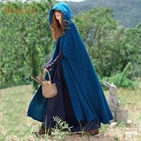 Bohoartist Women Poncho Autumn Casual Cape Blue Chic Cloak Girl Boho Fashion Ladies Stylish Poncho Coat Hooded Cape 2019 Trendy