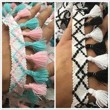 5 см Ширина DIY подходящая цветная красивая кружевная лента с помпоном, тканевая кукла, детская одежда, юбка, аксессуары с кисточками по краям