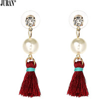 JURAN Trendy Tassel Fringe Dangle Earrings With Pearl For Women Elegant Tassel Earrings White Black Red Gray 4 Colors Brincos(China)
