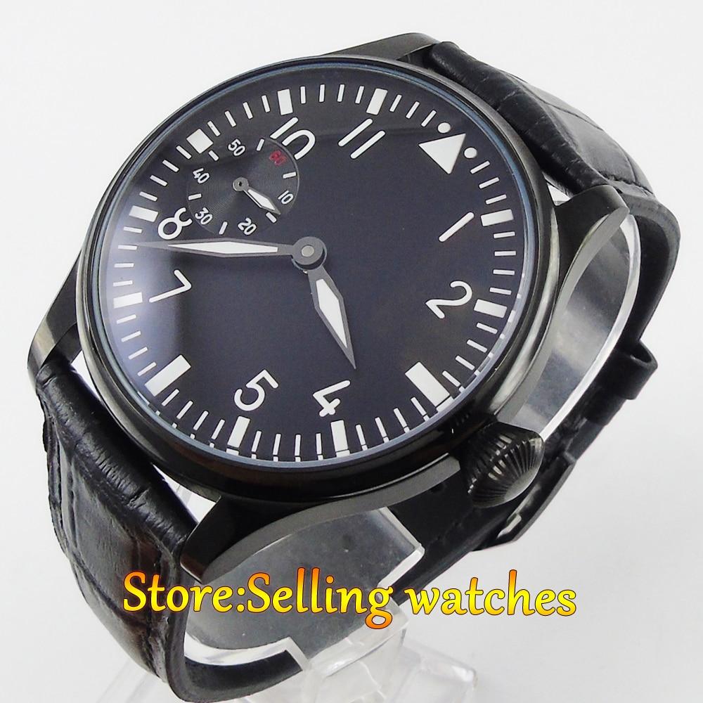 Parnis 44mm Black sterile dial PVD case 6497 hand-winding men's watch 44mm black sterile dial green marks relojes 6497 mens mechanical hand winding watch luminous armbanduhr cm164bk