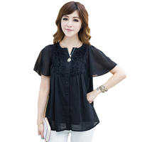 Summer Womens Tops And Blouses Plus Size 4xl Office Black Blue Orange Bluz Janpanese Tunique Kimonos Mujer 2018 Women Shirt D46F