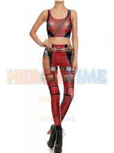 Fashion Women Leggings & Top Deadpool Superhero Sports Suits Cosplay Halloween Party Costume