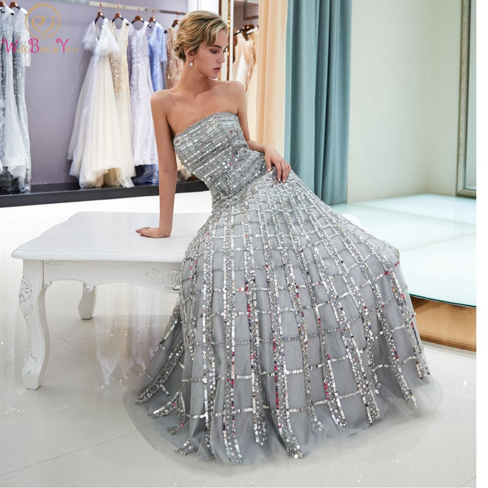 Walk Beside You Silver Sequined Prom Dresses Strapless A-line Long vestidos  de graduacion Backless Evening Gowns Formal Dress 8ac881ce57c4