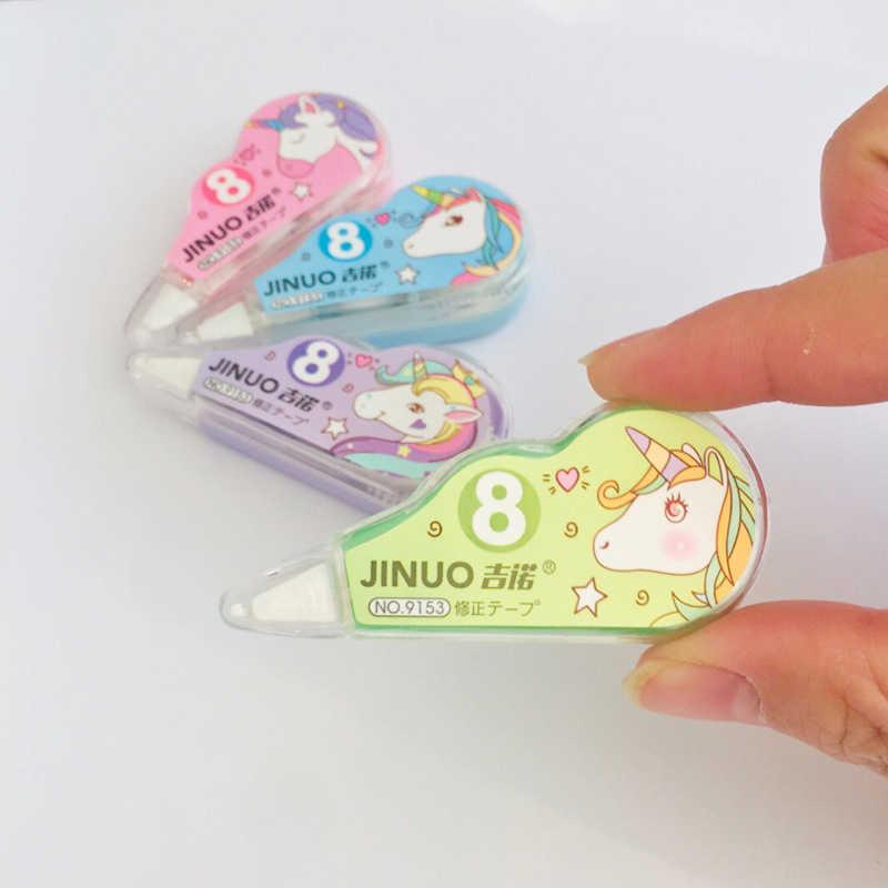 4 יח'\סט קוריאני סגנון 3 M * 5mm Cartoon Unicorn מכתבים מתקן תיקון קלטת רולר לבן מדבקת תלמיד בית הספר אספקת