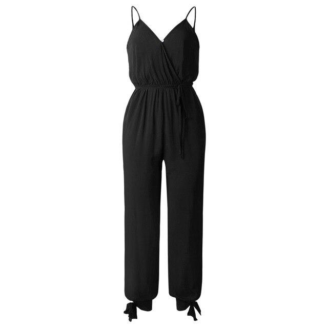 Wontive negro puro V cuello Sexy trajes de las mujeres con cinturón con cuerpo de mujer monos mono