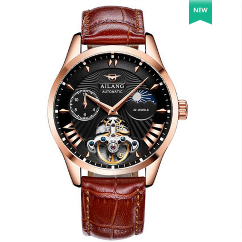 AILANG new style fashionable luxury leisure men's watch automatic mechanical wind waterproof steel black dial with timing watch. цена и фото