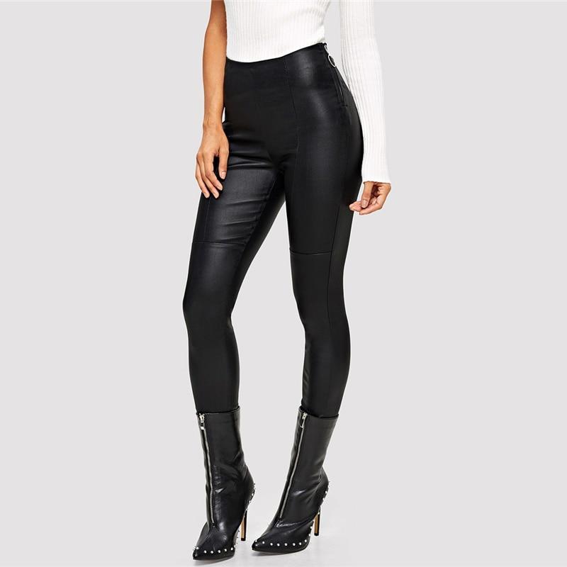 Femme cuir pantalon noir PU Skinny cuir pantalon bureau dame taille haute pantalon femmes vêtements automne extensible crayon pantalon L