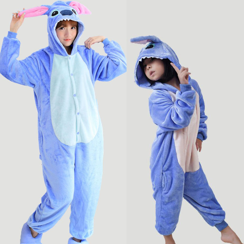 Kawaii Cute Blue Pajamas Oneise For Family Monther Daughter Adults Kids Winter Flannel H ...
