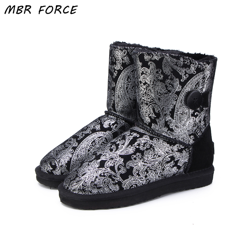 MBR FORCE 2018 Hot Sale High Quality Women UG Snow Boots Winter Warm Boots Genuine Leather Fashion Women Boots US 3-13 goncale high quality band snow boots women fashion genuine leather women s winter boot with black red brown ug womens boots