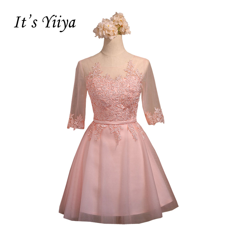 It's YiiYa Pink Half Sleeve Flowers A-line   Cocktail     Dresses   Above Knee Appliques Illusion Lace Up Party Simple Formal DressBF010