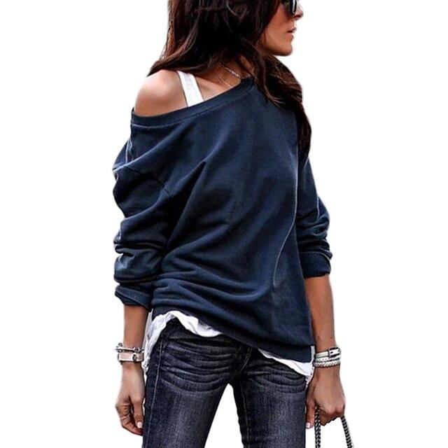 Autumn Winter Sweatshirt Women Cotton Hoodie Long Sleeve Solid Casual Sweatshirts Hoodies 2018 Sexy Off Shoulder Black Pullover