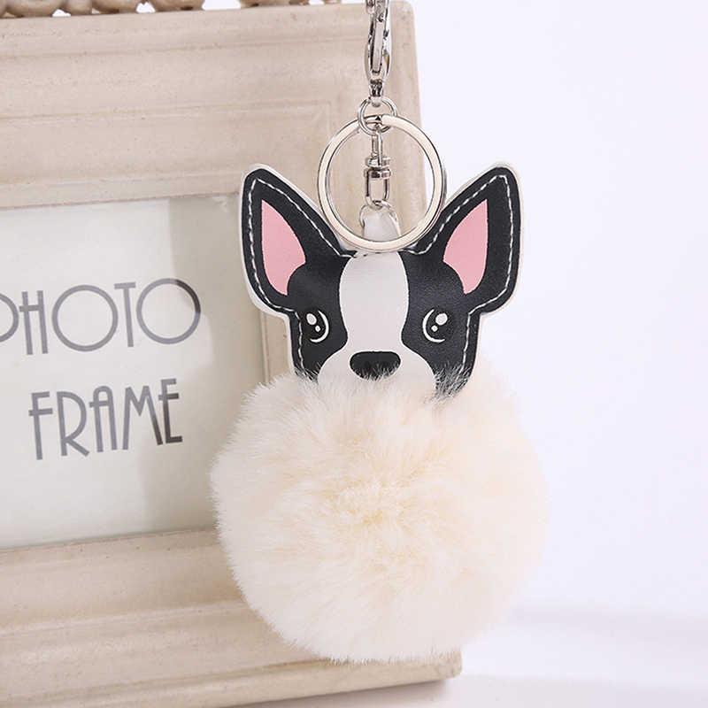 Bulldog พวงกุญแจกระต่าย Fur Ball Pompom พวงกุญแจกระเป๋า Charm กุญแจจี้เครื่องประดับสำหรับของขวัญผู้หญิงผู้หญิงสัตว์สุนัขพวงกุญแจ