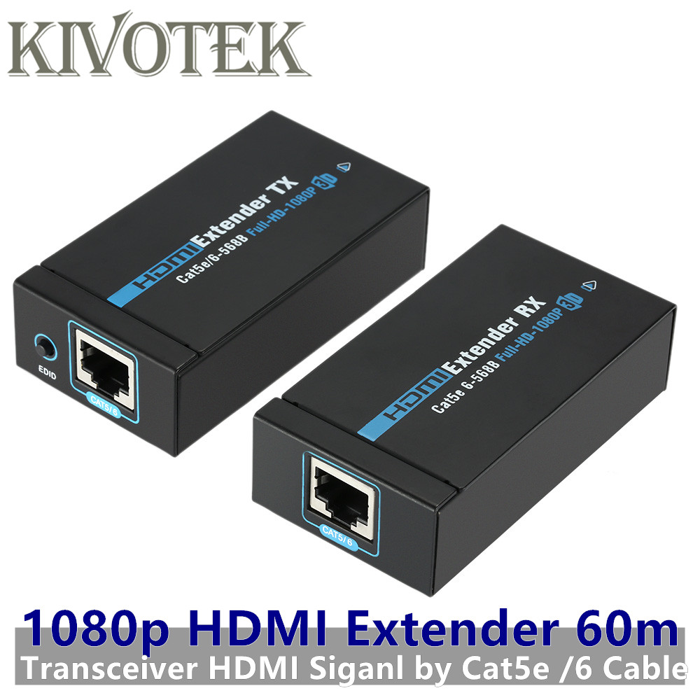60M 1080p 3D HDMI Extender Transmitter Receiver Adapter Cat5e/6 RJ45 Transceiver Ethernet Converter For HDTV CCTV Free Shipping hdmi extender rj45