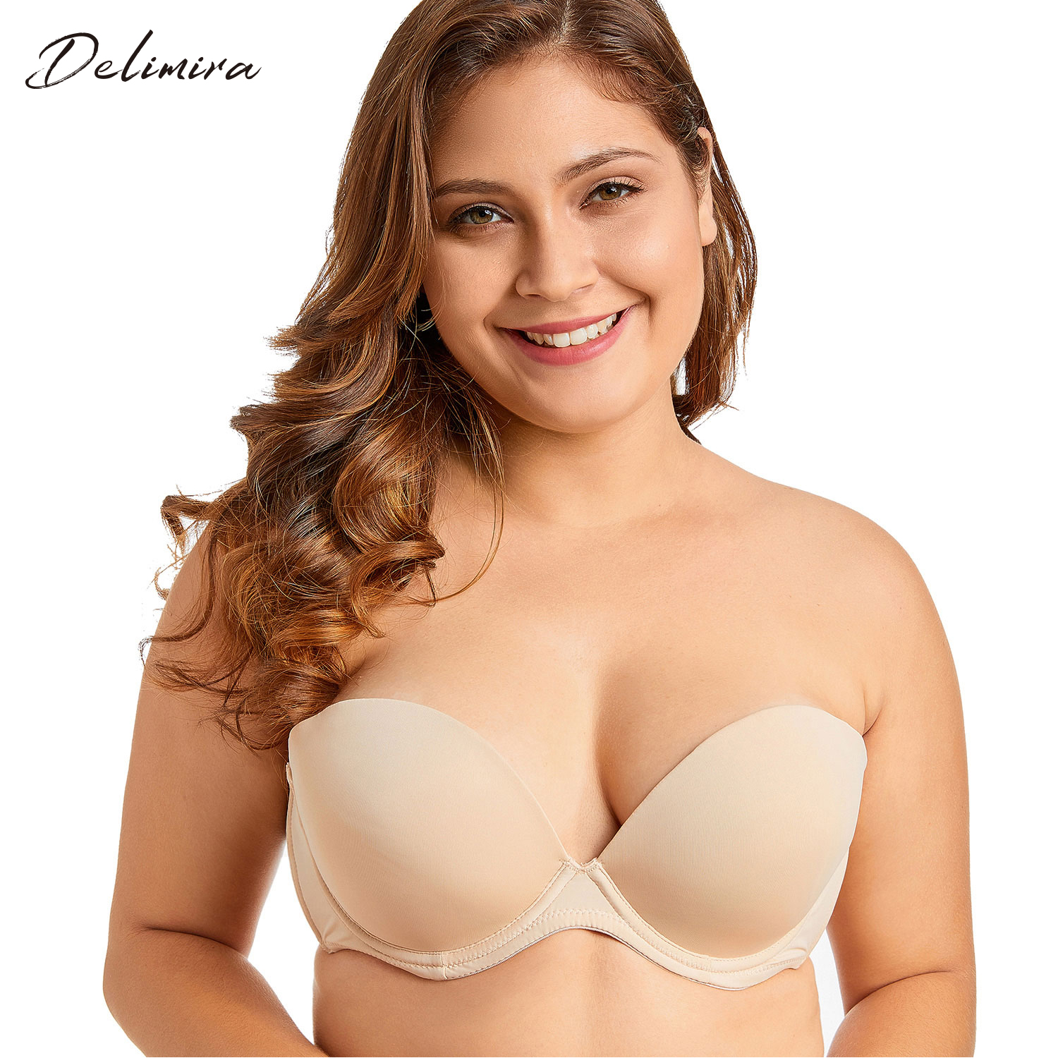 8471606c51b Delimira Women s Comfort Front Closure Non-padded X-back Underwire Plus  Size Bra