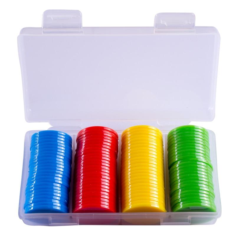 100Pcs 25mm Plastic Poker Chips Bingo Markers For Fun Family Club Carnival Bingo Board Game Supplies 9 Colors With Plastic Box