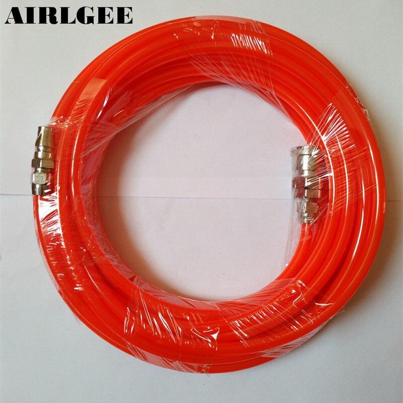 8mm x 5mm Polyuréthane PU Compresseur D'air Tuyau Tube Orange Rouge 10 M 32.8Ft Livraison gratuite