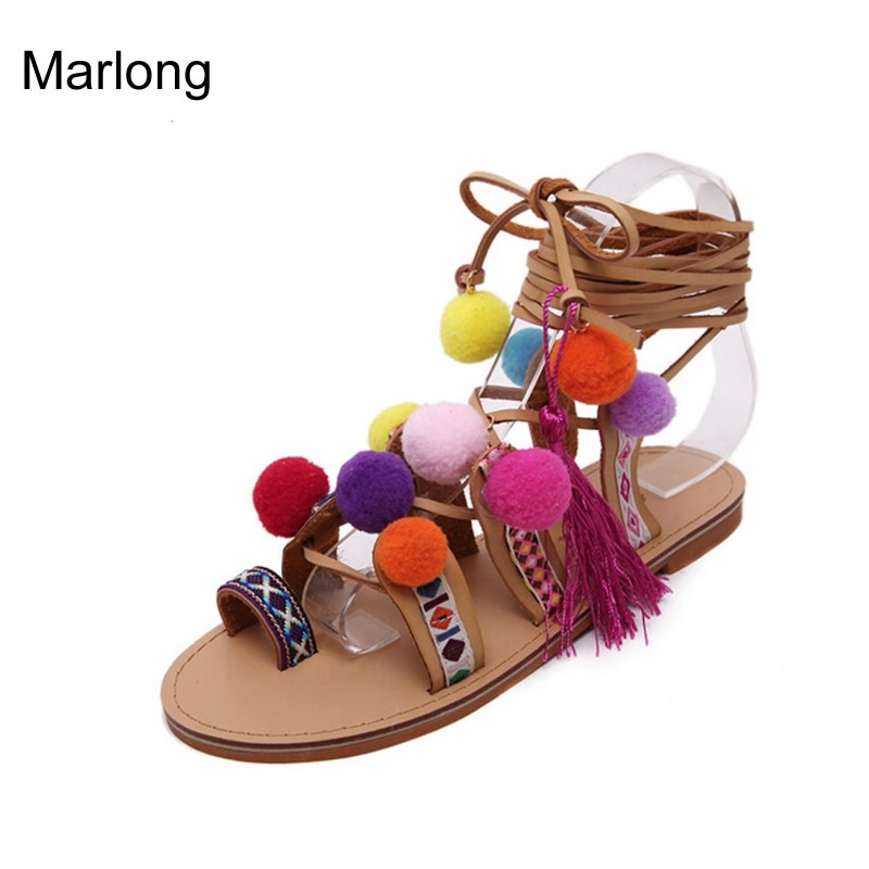 Gladiator Sandals Women Shoes 2016 Tassel Flat Multicolour Fuzz Ball Pom Pom Sandals Female Ankle Leg Strap Bohemia Summer Shoes