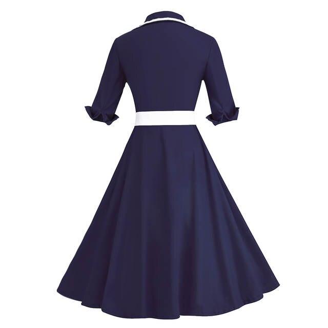 placeholder Kenancy Plus Size 3 Colors Stripe Print 3 4 Sleeves Lapel  Vintage Dress 1950 s Audrey a5b8f55c875b