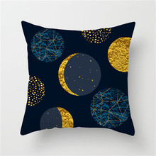 Fuwatacchi Print Cushion Cover Geometric Black Gold Blue Pillow Moon Star Arrow Striped Decor Throw Case Pillowcase