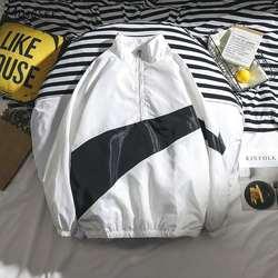Куртки мужские большие размеры с воротником-стойкой на молнии пэчворк простые универсальные Harajuku куртки мужские s корейский стиль Ulzzang