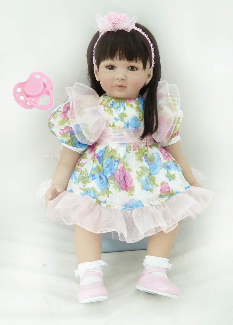 60cm Soft Silicone Vinyl Reborn Baby Girl Toddler Doll Toy Girl Brinquedos lovely Reborn Baby Doll Lovely Birthday Gift Toy lovely red ladybug doll toy