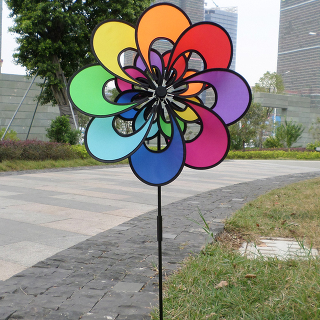 Rainbow Flower Windmill Spinner Outdoor Toy Windmills For Kids Playing  Garden Decor Free Postage