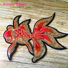 New Arrival Iron-on Stickers 2pcs Cloth Embroidery Children Clothing Sequined Patch Luckey Goldfish DIY  Accessories Carp