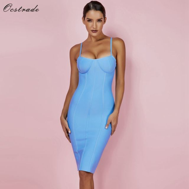 Ocstrade Women Dress Bandage 2019 New Arrivals Summer Sexy Light Blue Spaghetti Strap Rayon Bandage Dress Bodycon Party Dress