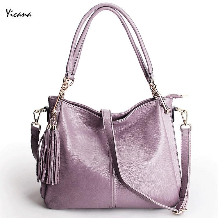 Yicana New Style 100% Soft Cowhide Genuine Leather Women Handbag Lady Crossbody Handle Shoulder bag new soft 100