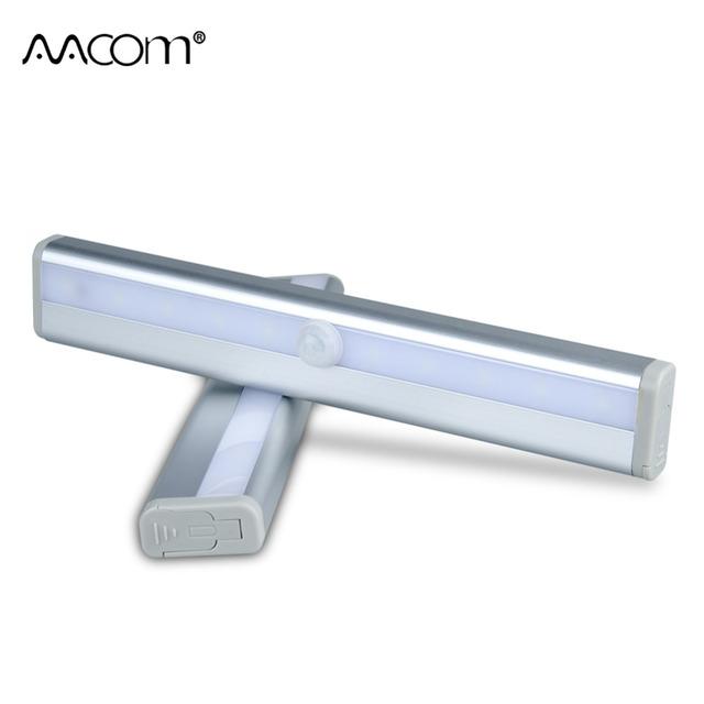 PIR Motion Sensor LED Under Cabinet Light 6 10 LEDs Wireless Night Light Kitchen Wardrobe Stairs Corridor Wall Lamp