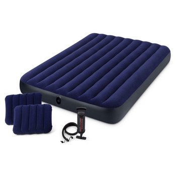 152*203*22CM Luxury Flocking Stripes 2-3 People Thickening Air Mattress Bed Beach Inflatable Cushion Outdoor Tent Camping Mats
