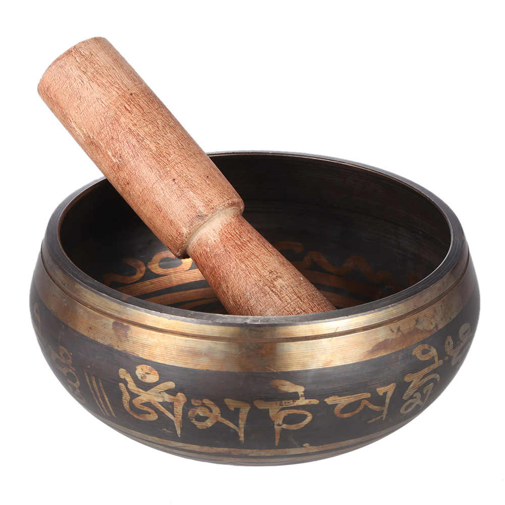 3.9 polegada Artificial Sino Tigela De Metal Cantando com O Atacante para o Budismo Tibetano Budista Meditação & Relaxamento Cura
