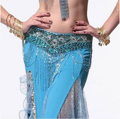 Buksdans kostymer senior äldre handgjorda pärlor tofs 830 # bukdansband för kvinnor bukdans hip scarf