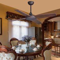 42/48/52 Polegada vintage 4 biades ventiladores de teto de madeira industrial sem luz decorativa casa ventilador de teto|Ventiladores de teto| |  -
