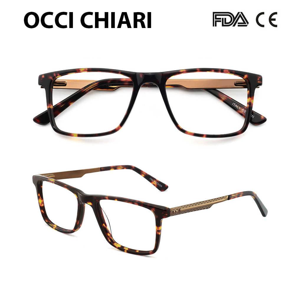 13f893f5d9 OCCI CHIARI High Quality Black Eyeglasses Metal Acetate Mens Eyewear Spring  Hinge Optical Glasses Frame For