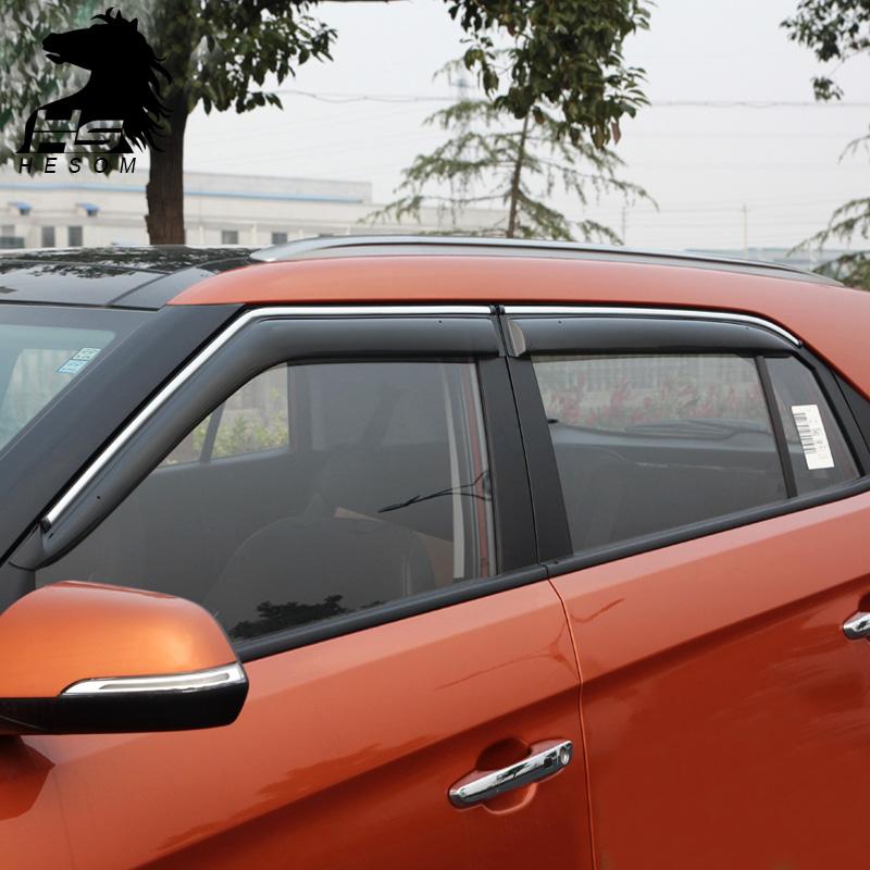 Prix pour Pour Hyundai Creta/ix25 fenêtre visière ABS Auvents Abris couvrent des vêtements de pluie Extérieur corps décoration produits accessoires 2015-2016