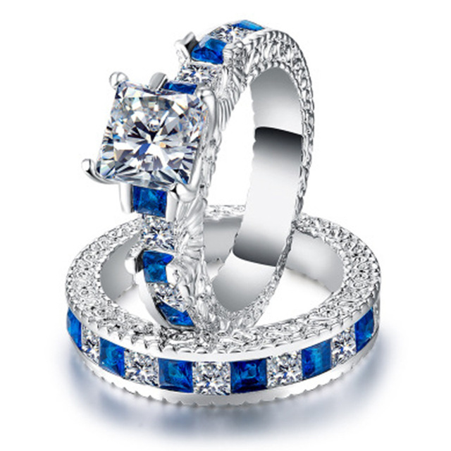 Doppio Verde Quadrato Blu CZ Anello in Rhodium Placcato Fedi Nuziali AAA Zircon Dei Monili Accessori Delle Donne di Fidanzamento anello di Cerimonia Nuziale 1