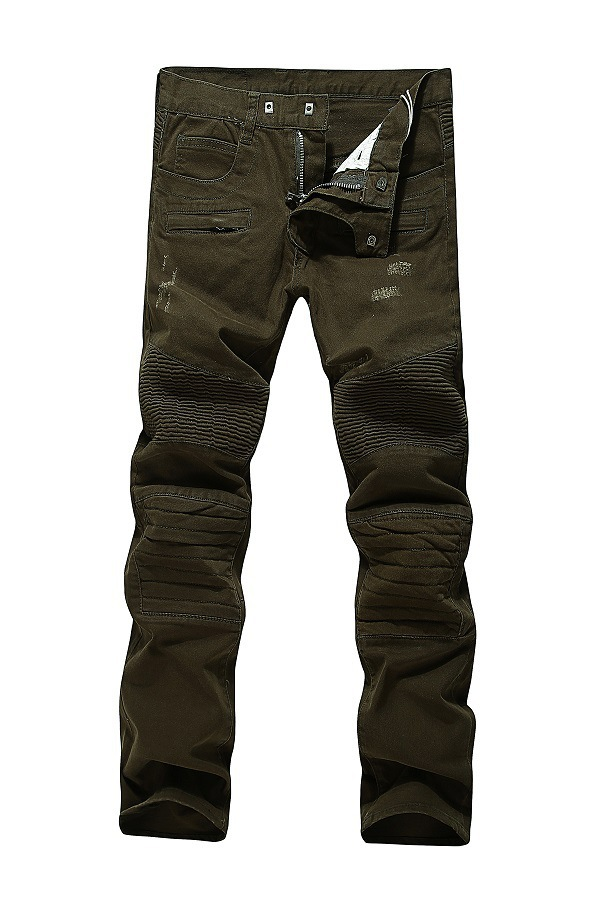 Aliexpress.com : Buy Army Green Denim Mens Pleated Jeans Pants
