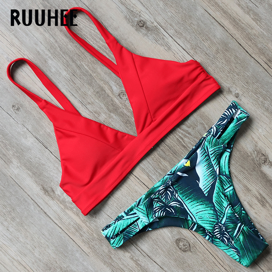 RUUHEE Newest Bikini Swimwear Women Swimsuit Bathing Suit Brazilian Bikini Set 2018 Vintage Printed Padded Beachwear Swimsuit