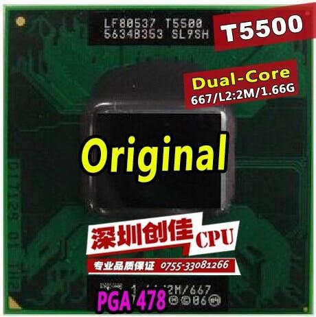 Livraison Gratuite pour intel CPU ordinateur portable Core 2 Duo T5500 CPU 6 M Socket 479 Cache/1.66 GHz/667/Dual-Core Ordinateur Portable processeur soutien 945