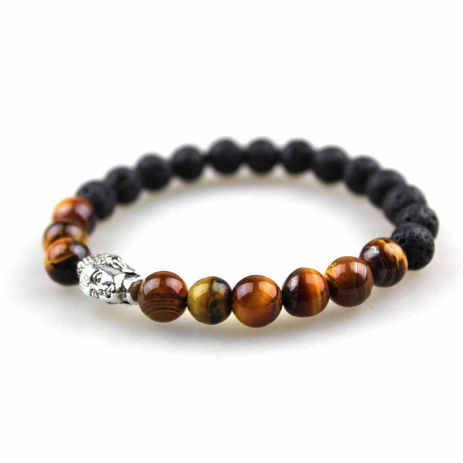 Wv019 DIY sprzedaż hurtowa czarny kamień z lawy wulkanicznej tygrysie oko głowa buddy 8mm bransoletka z paciorkami dla mężczyzn moda osobowość biżuteria