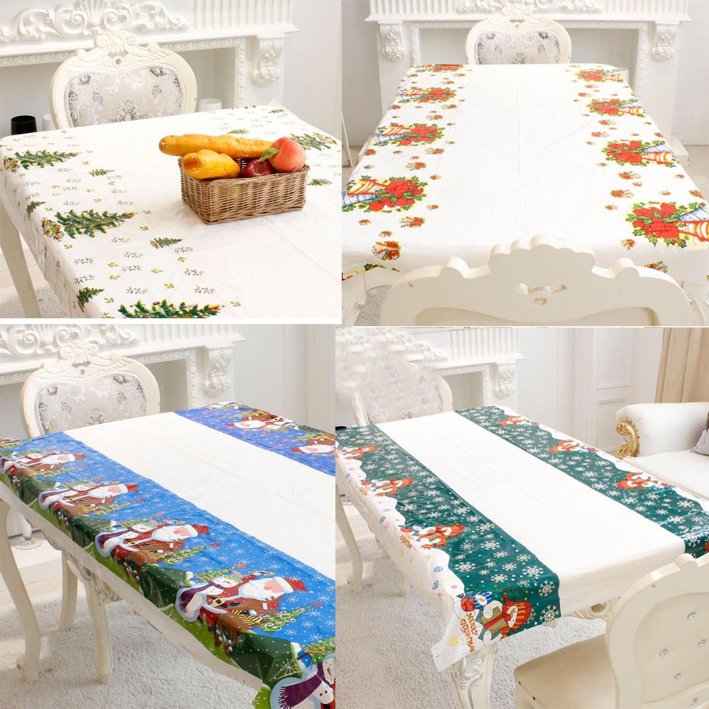 1PC 110*180cm Disposable Christmas Tablecloth Kitchen Dining Table Decorations Home Rectangular Table Cover New Year Ornament #Z