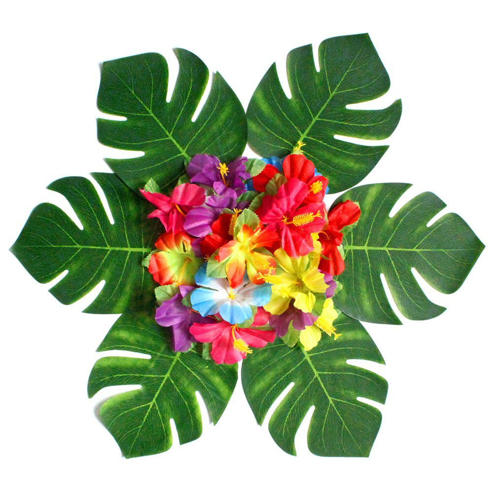 30pcs Artificial Tropical Palm Leaves&24pcs Hibiscus Flower Hawaiian ...