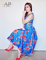 Alisa Pan AS05443 Women S Floral Boho Printed A Line Summer Casual Dresses Round Neck Fashion