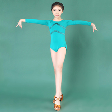Latin Dance Tops For Children Leotard Costume Long Sleeves Dancing Practice Clothes Girls Professional Cha Cha Performance Wear