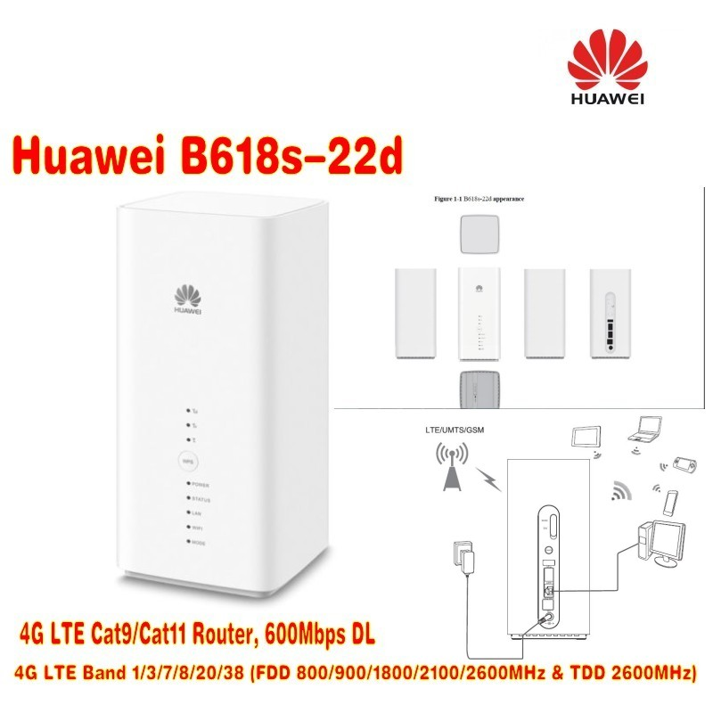 Unlocked original HUAWEI B618 4G router 4G 600Mbps 4LAN 1TEL 64WIFI in 3G 4G Routers from Computer Office