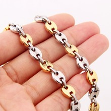 7mm 7-40 High Quality Stainless Steel Silver Gold Casting Coffee Beans Chain Men's Women's Hip Hop Necklace Or Bracelet Jewelry