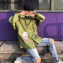 Dark Icon Printed Hip Hop Shirt Men with Hoodie Turn-down Collar Street Shirts Men Hooded Shirts Man Streetwear Clothes dark icon coconut tree hawaii shirts men turn down collar retro shirt summer hip hop shirts man top 2colors