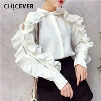 CHICEVER Off Shoulder Ruffles Female T Shirts For Women Top Butterfly Sleeve Slim Zipper Spring T
